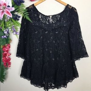 Free People black floral lace top with 3/4 sleeves